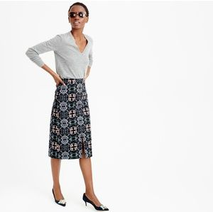 J. Crew A Line Midi Skirt in Mirrored Floral